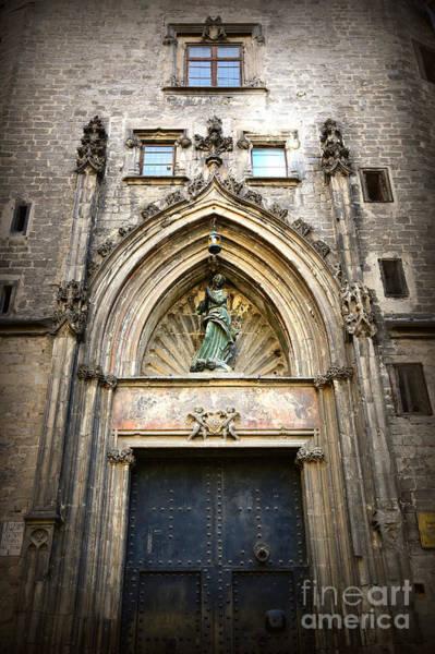 Photograph - Barcelona Gothic Church Door  by Carol Groenen