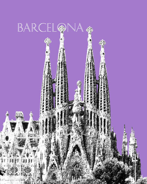Barcelona Digital Art - Barcelona Skyline La Sagrada Familia - Violet by DB Artist