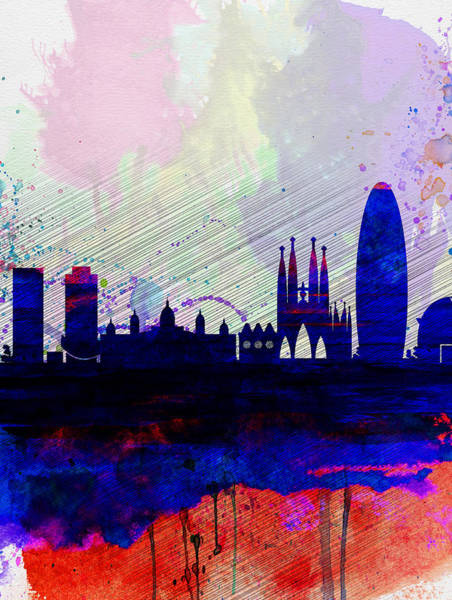 Spain Painting - Barcelona Watercolor Skyline 2 by Naxart Studio