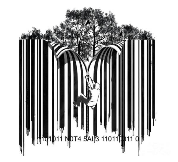 Digital Art - Barcode Graffiti Poster Print Unzip The Code by Sassan Filsoof
