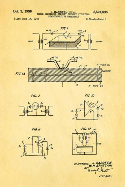 Wall Art - Photograph - Bardeen Transistor Patent Art 1950 by Ian Monk