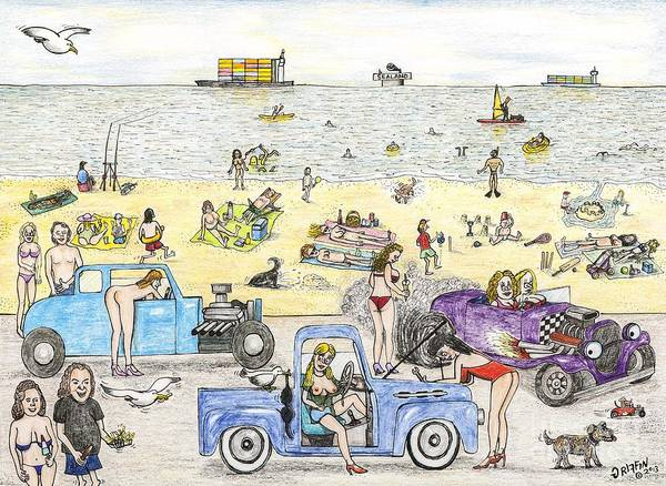 Nipples Drawing - Bare Bods And Hot Rods by Steve Royce Griffin