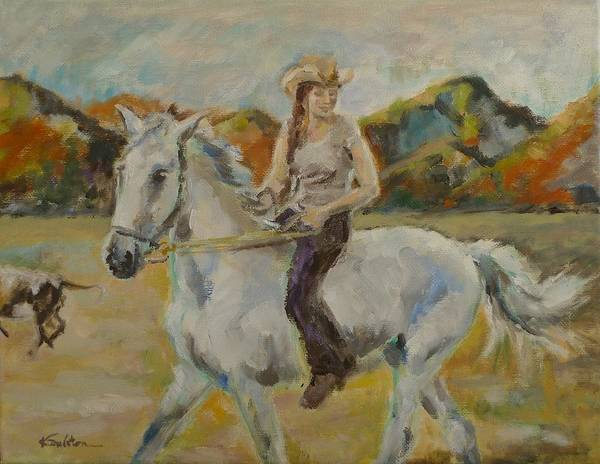 Horsemanship Painting - Bareback And Bitless by Veronica Coulston