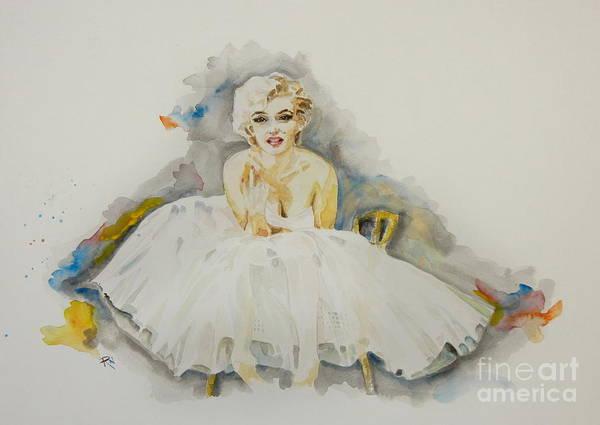 Norma Jeane Mortenson Painting - Barefoot Marilyn In White by Ruta Naujokiene