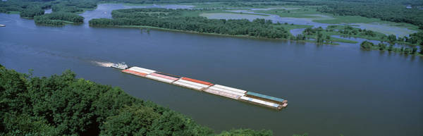 Marquette Photograph - Barge In A River, Mississippi River by Panoramic Images