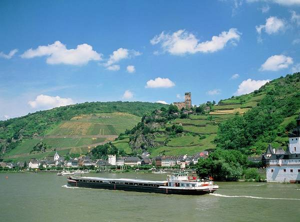 Rhine River Photograph - Barge On The River Rhine by Tony Craddock/science Photo Library