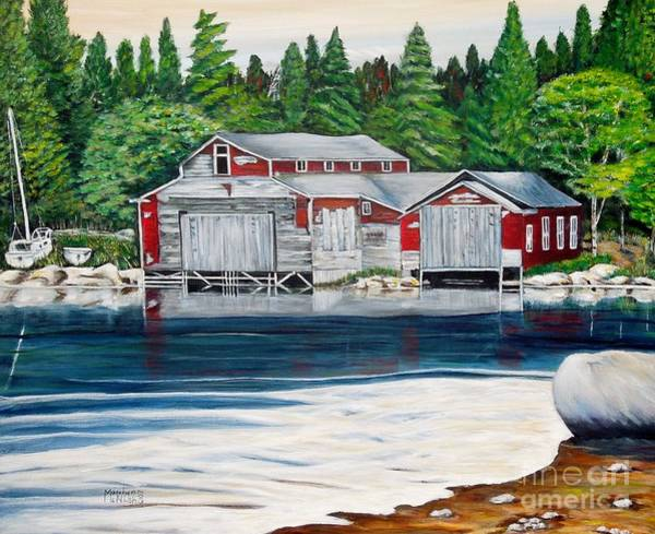 Painting - Barkhouse Boatshed by Marilyn  McNish