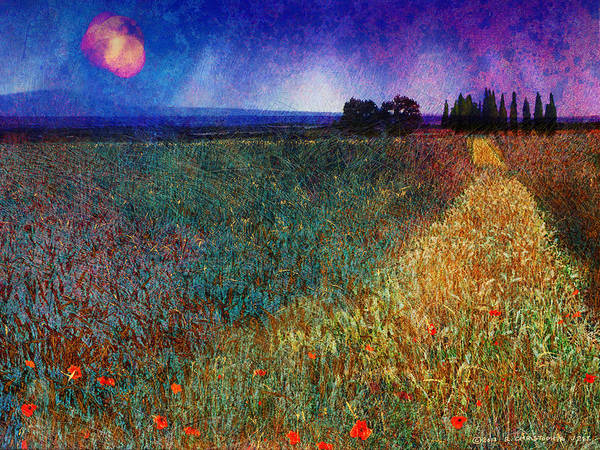 Barley Painting - Barley Field With Poppies by R christopher Vest