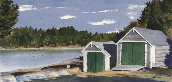 Barley Painting - Barley Neck Boat Houses by Heidi Gallo