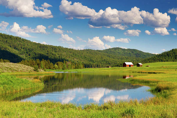 Barn Photograph - Barn And Clouds Reflected In Pond by Anna Gorin