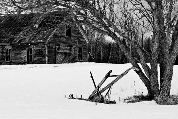 Photograph - Barn And Plow Jefferson Nh by Jeff Sinon
