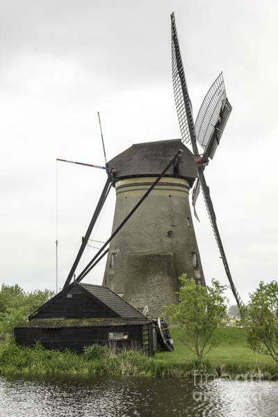 Noord Holland Wall Art - Photograph - Barn And Windmill Kinderdijk by Teresa Mucha