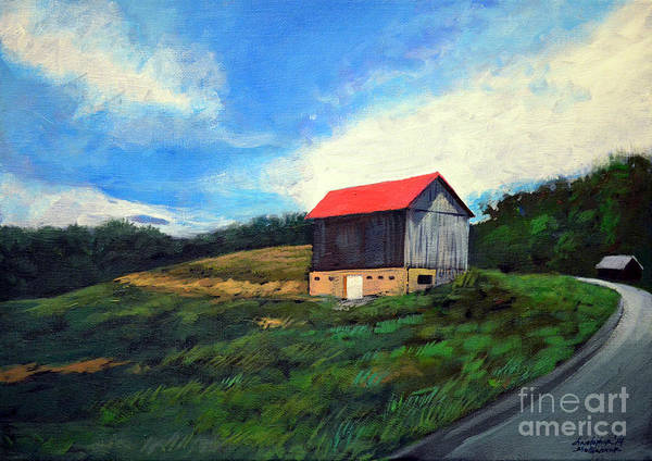 Painting - Barn Around The Bend by Christopher Shellhammer
