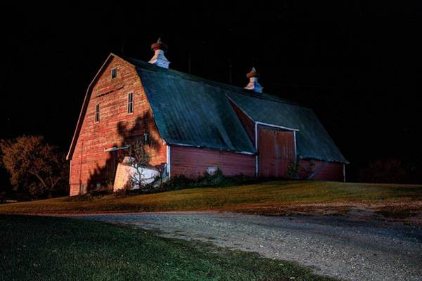 Photograph - Barn At Night by David Matthews