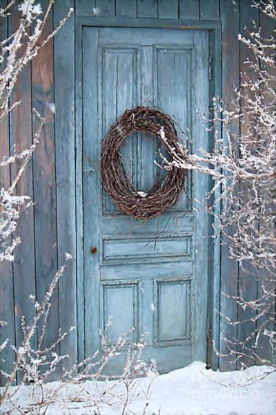 Photograph - Barn Door And Wreath/digital Painting by Sandra Cunninghamwith barn door and wreath