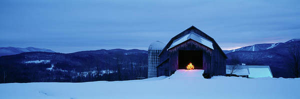 Wall Art - Photograph - Barn In A Snow Covered Field, Vermont by Panoramic Images