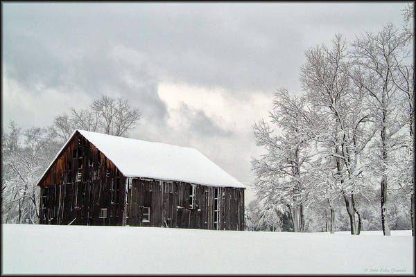 Photograph - Barn In Snow by Erika Fawcett