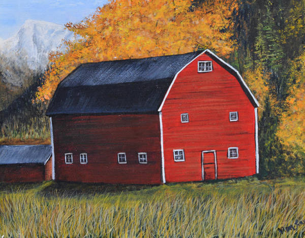 Painting - Barn In The Fall by Nancy Lauby