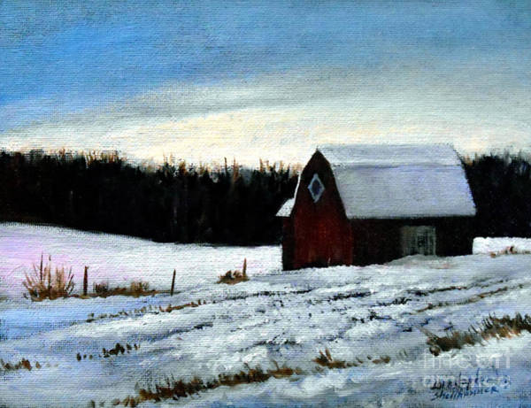 Painting - Tree Farm Barn In The Snow by Christopher Shellhammer