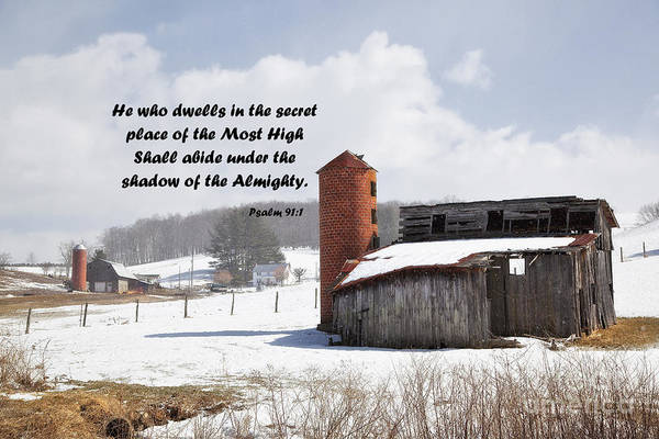 Photograph - Barn In Winter With Psalm Scripture by Jill Lang
