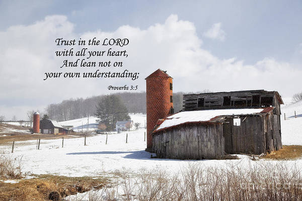 Photograph - Barn In Winter With Scripture by Jill Lang