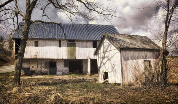 Photograph - Barn Near Utica Mills Covered Bridge by Joan Carroll