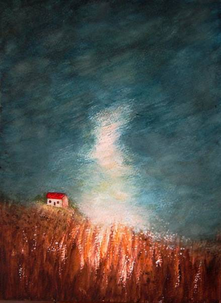 Barley Painting - Barn On The Hill By Moonlight by Jean Tatton Jones