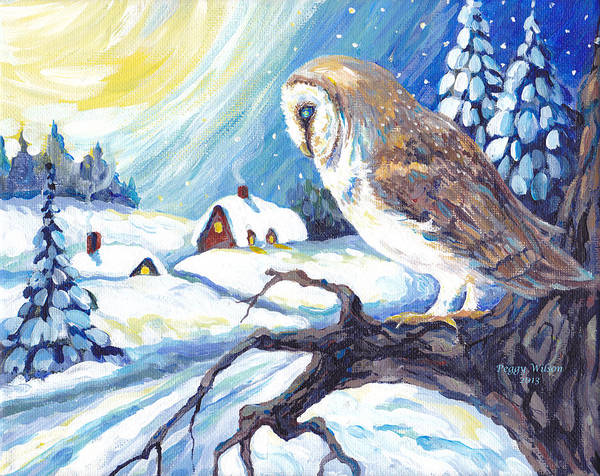 Snow Owl Painting - Barn Owl In Winter Night by Peggy Wilson