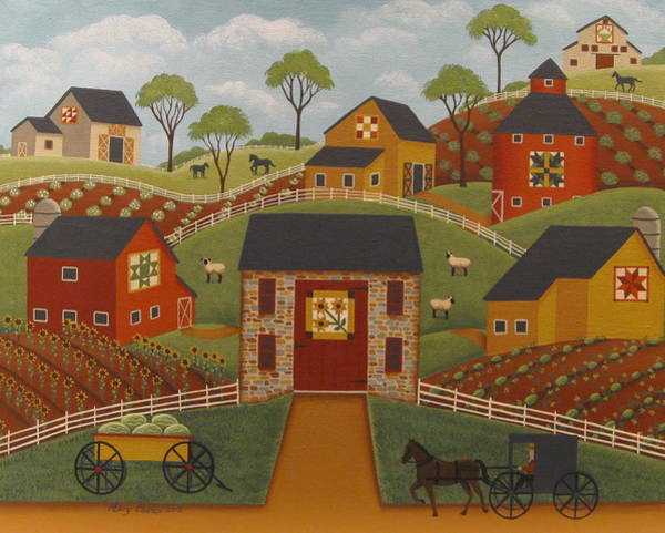 Red Barn Painting - Barn Quilts by Mary Charles