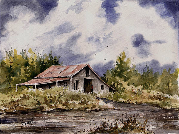 Painting - Barn Under Puffy Clouds by Sam Sidders
