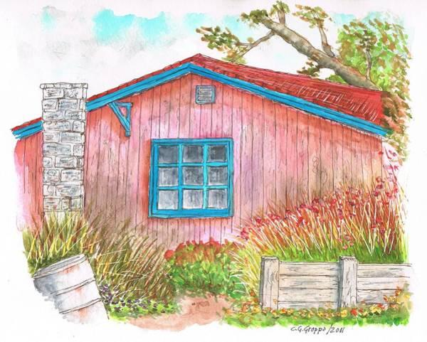 Acuarela Painting - Barn With Blue Window by Carlos G Groppa