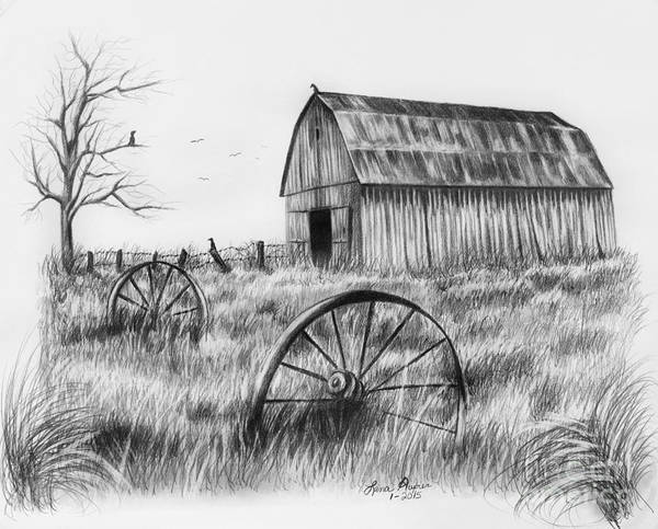 Grass Drawing - Barn With Crows by Lena Auxier