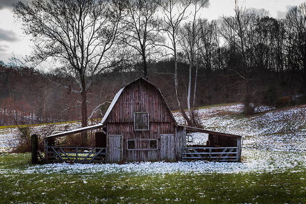 Photograph - Barn With Snow by Ron Pate