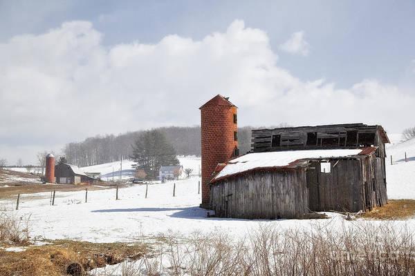Photograph - Barns And Silos In Winter by Jill Lang
