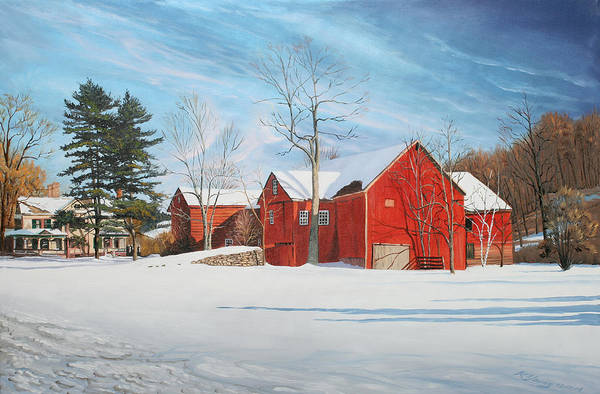 Barn Snow Painting - Barns At Bezalel Gables by Kenneth Young