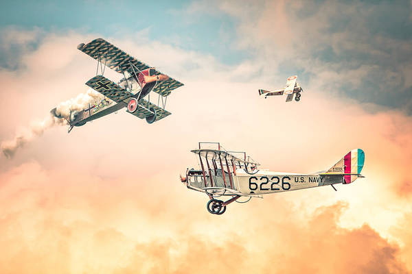 Photograph - Barnstormers In The Golden Age Of Flight - Replica Fokker D Vll - Spad 7 - Curtiss Jenny Jn-4h by Gary Heller