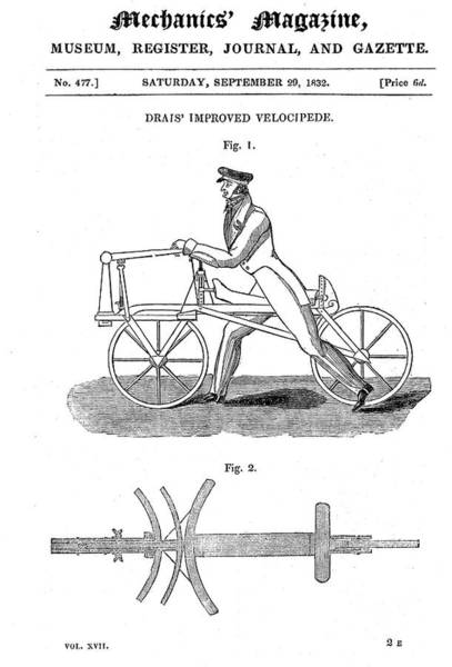 Woodcut Photograph - Baron Von Drais's Bicycle by Universal History Archive/uig
