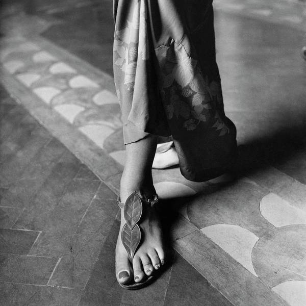 Footwear Photograph - Baroness Reutern's Feet Modeling Sandals by Marya Mannes