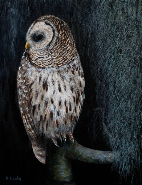 Painting - Barred Owl On A Mossy Perch by Nancy Lauby