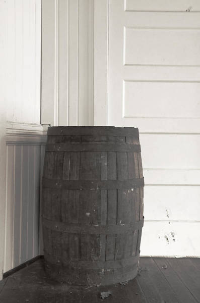 Photograph - Old Wooden Barrel - Black And White by Marilyn Wilson
