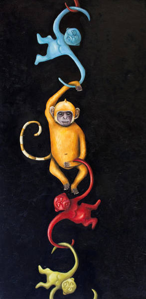 Wall Art - Painting - Barrel Of Monkeys by Leah Saulnier The Painting Maniac
