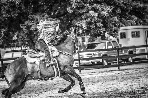 Photograph - Barrel Racing Black And White by Eleanor Abramson