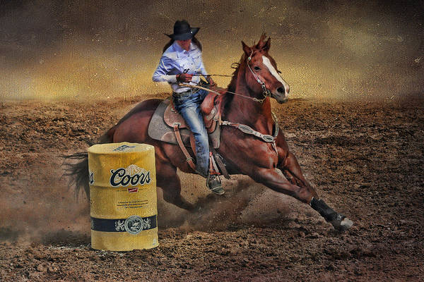 Girl And Horse Photograph - Barrel-rider Cowgirl by Barbara Manis