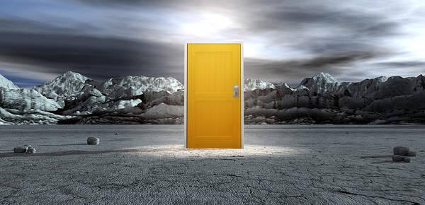 Doorway Digital Art - Barren Lanscape With Closed Yellow Door by Allan Swart