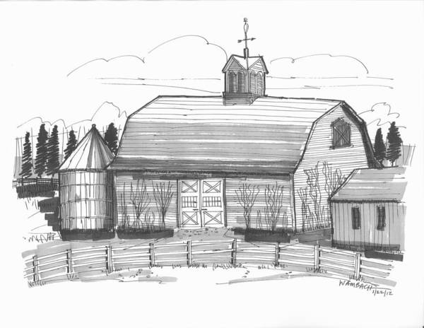 Drawing - Barrytown Barn by Richard Wambach