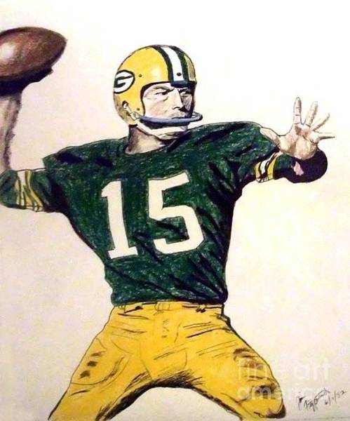 Super Bowl Drawing - Bart Star Of The Green Bay Packers by Jim Fitzpatrick