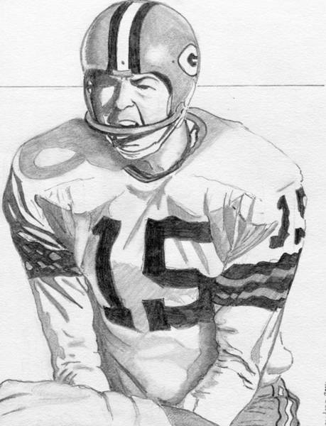 Super Bowl Drawing - Bart Starr by Brian Condron