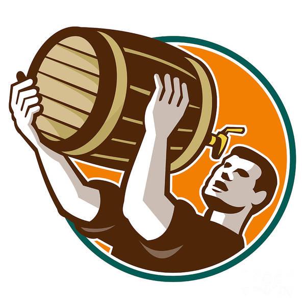 Pouring Digital Art - Bartender Pouring Drinking Keg Barrel Beer Retro by Aloysius Patrimonio