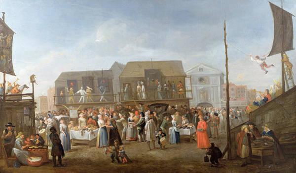 Market Square Photograph - Bartholomew Fair Oil On Canvas by Egbert van Heemskerck