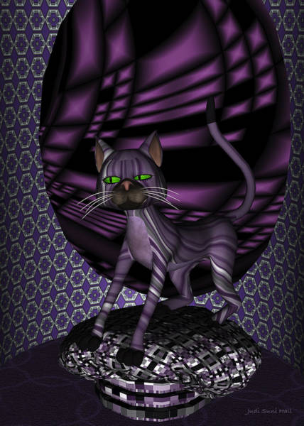 Digital Art - Bartollemew Cat Stretching  by Judi Suni Hall